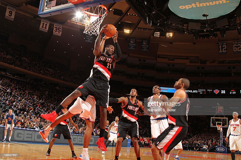 J.J. Hickson #21 of the Portland Trail Blazers grabs a rebound against the New York Knicks on January 1, 2013 at Madison Square Garden in New York City.