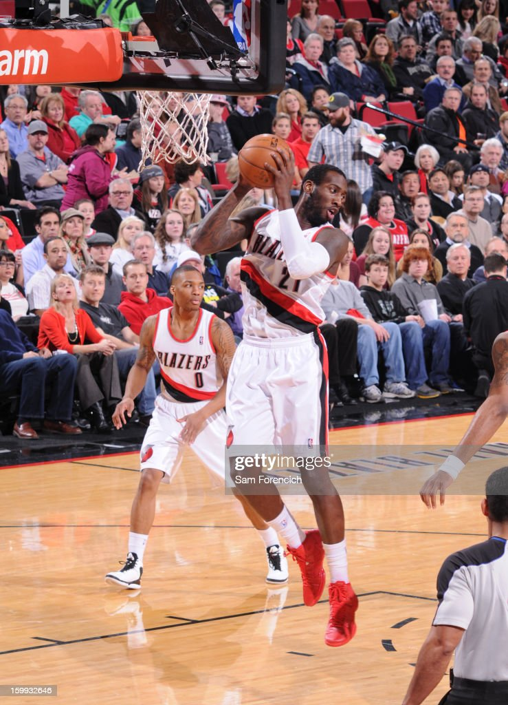 J.J. Hickson #21 of the Portland Trail Blazers grabs the rebound against the Washington Wizards on January 21, 2013 at the Rose Garden Arena in Portland, Oregon.