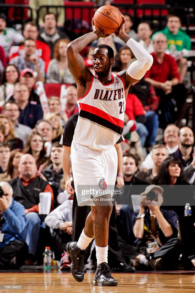 J.J. Hickson #21 of the Portland Trail Blazers looks to pass the ball against the Orlando Magic on January 7, 2013 at the Rose Garden Arena in Portland, Oregon.