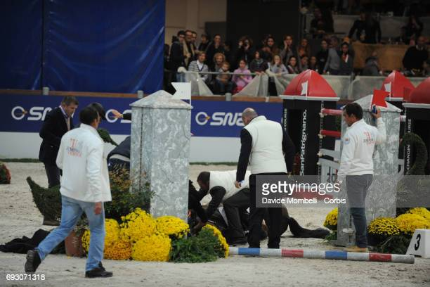 Hickstead ridden by Eric Lamaze suffers a fatal fall during the Jumping Verona 2011 on November 6 2011 in Verona Italy