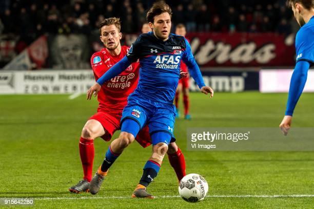 Hidde ter Avest of FC Twente Joris van Overeem of AZ during the Dutch Eredivisie match between FC Twente Enschede and AZ Alkmaar at the Grolsch Veste...