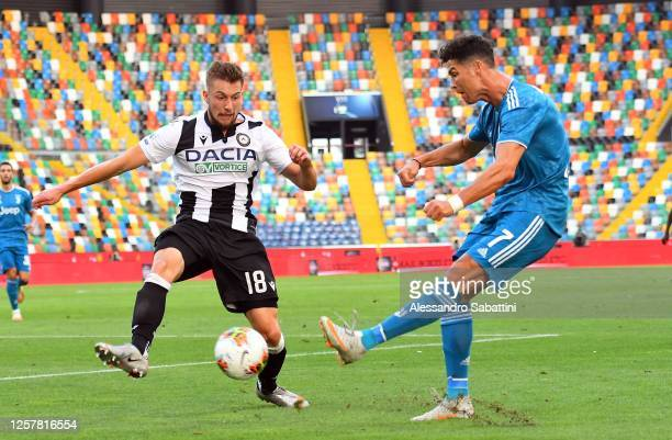 Hidde Ter Avest of Udinese Calcio competes for the ball with Cristiano Ronaldo of Juventus during the Serie A match between Udinese Calcio and...