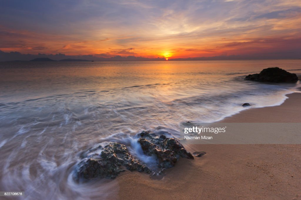 Hidden beach for relaxing and spending holiday. : Stock Photo