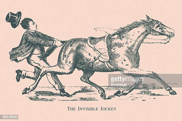 Hidden in this picture is the head of the jockey Where is he This image dates from the turn of the century and was the face of a trade card used as...
