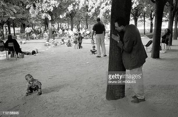 Hide and seek in Jardin du Luxembourg in Vincennes France in 1993