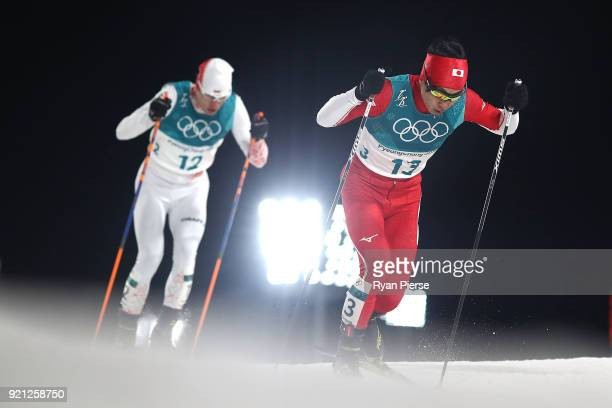 Hideaki Nagai of Japan competes during the Nordic Combined Individual Gundersen 10km CrossCountry on day eleven of the PyeongChang 2018 Winter...