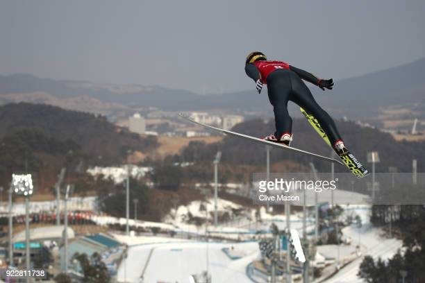 Hideaki Nagai of Japan competes during the Nordic Combined Team Gundersen LH/4x5km Ski Jumping Trial Round on day thirteen of the PyeongChang 2018...