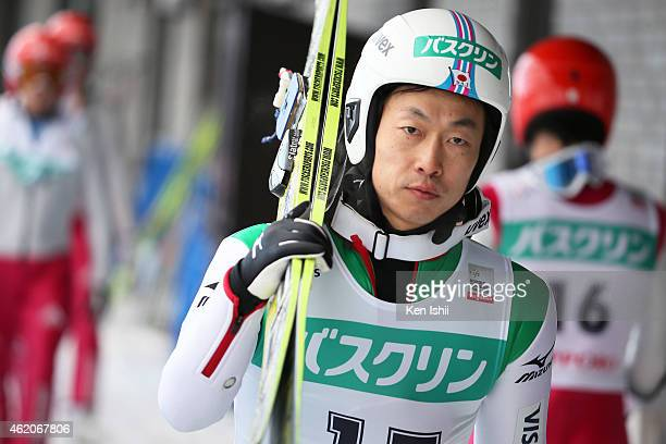 Hideaki Nagai of Japan walks before the competition in the LH Individual Gundersen during the day two of FIS Men's Nordic Combined World Cup at...