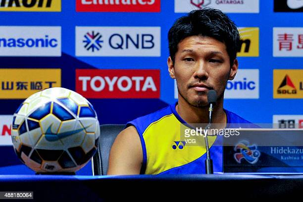 Hidekazu Otani of Kashiwa Reysol attends a press conference ahead of the AFC Champions League quarterfinal football match between Guangzhou...