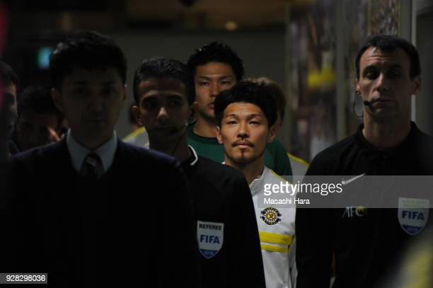 Hidekazu Otani of Kashiwa Reysol looks on prior to the AFC Champions League Group E match between Kashiwa Reysol and Kitchee at Sankyo Frontier...