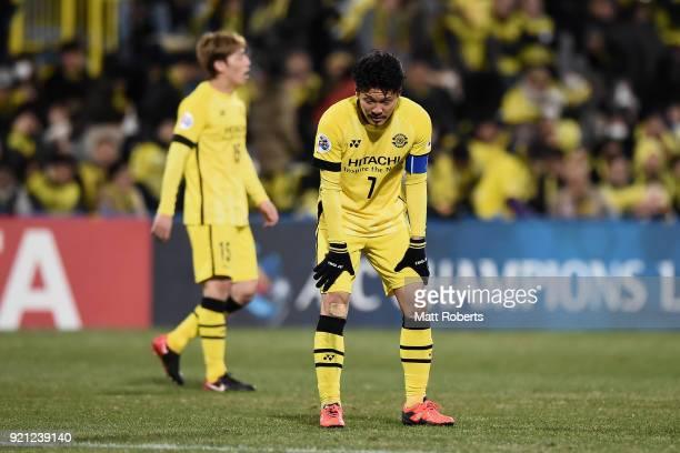 Hidekazu Otani of Kashiwa Reysol reacts after the 11 draw in the AFC Champions League match between Kashiwa Reysol and Tianjin Quanjian at Sankyo...
