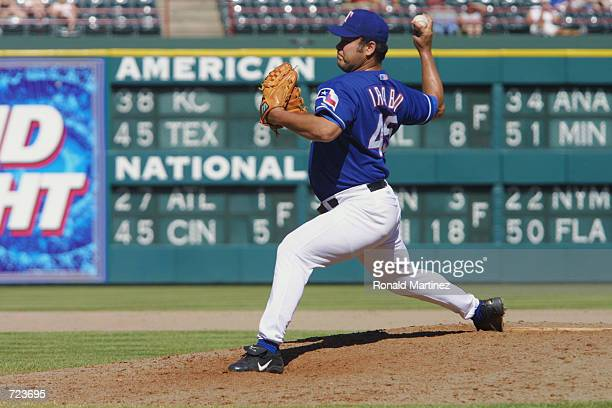 Hideki Irabu of the Texas Rangers pitches the ball during the game against the Kansas City Royals at The Ballpark in Arlington Texas on June 2 2002...