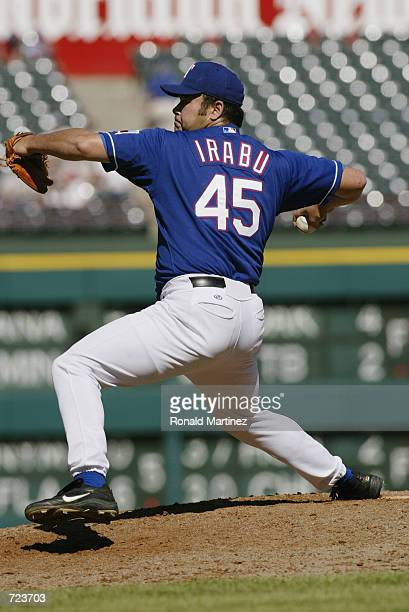 Hideki Irabu of the Texas Rangers prepares to pitch during the game against the Kansas City Royals at The Ballpark in Arlington Texas on June 2 2002...
