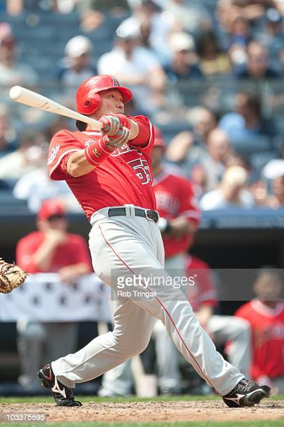 Hideki Matsui of the Los Angeles Angels bats against the New York Yankees at Yankee Stadium on July 21 2010 in the Bronx borough of New York City The...