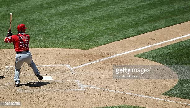 Hideki Matsui of the Los Angeles Angels bats against the Oakland Athletics during an MLB game at the OaklandAlameda County Coliseum on June 10 2010...