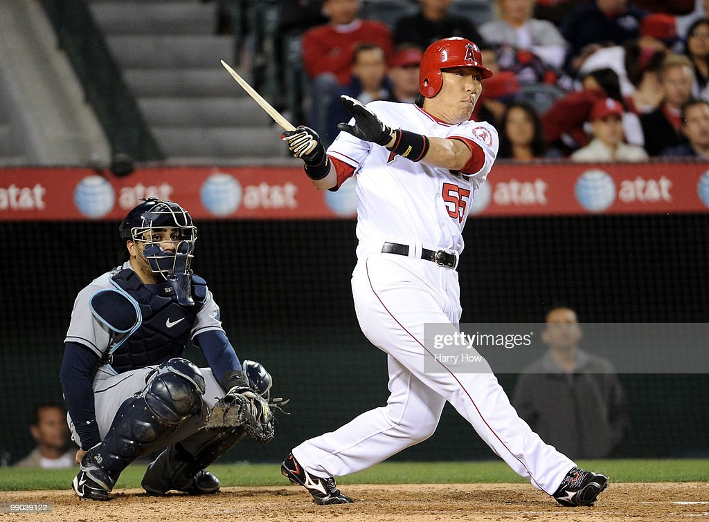 Hideki Matsui #55 of the Los Angeles Angels breaks his bat as he hits a ground ball for an out against the Tampa Bay Rays during the seventh inning at Angels Stadiium on May 11, 2010 in Anaheim, California.