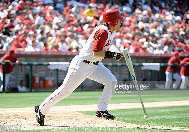Hideki Matsui of the Los Angeles Angels makes his way to first base against the Seattle Mariners at Angel Stadium on May 29 2010 in Anaheim California