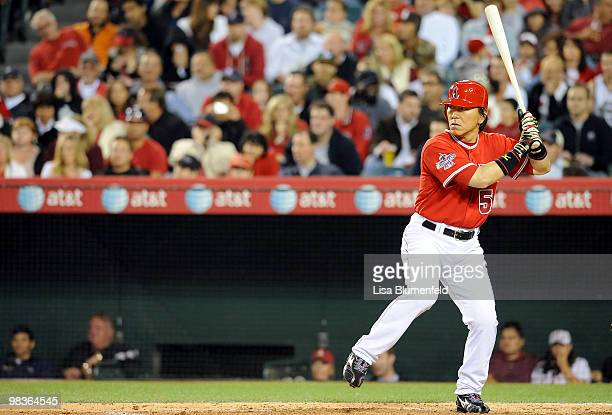 Hideki Matsui of the Los Angeles Angels of Anaheim at bat during the game against the Oakland Athletics at the Angel Stadium of Anaheim on April 9,...