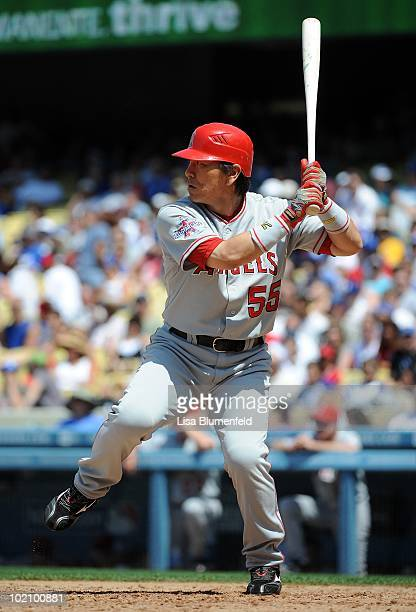 Hideki Matsui of the Los Angeles Angels of Anaheim bats against the Los Angeles Dodgers at Dodger Stadium on June 13 2010 in Los Angeles California