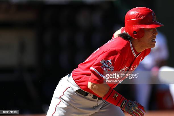 Hideki Matsui of the Los Angeles Angels of Anaheim bats against the Oakland Athletics during the game at the OaklandAlameda County Coliseum on...
