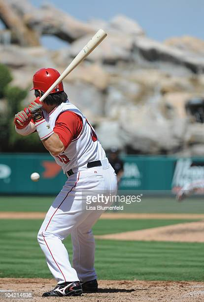 Hideki Matsui of the Los Angeles Angels of Anaheim bats against the Baltimore Orioles at Angel Stadium of Anaheim on August 29 2010 in Anaheim...