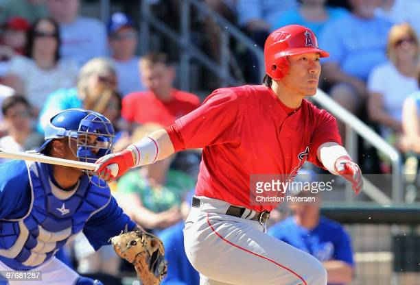 Hideki Matsui of the Los Angeles Angels of Anaheim bats against the Kansas City Royals during the MLB spring training game at Surprise Stadium on...