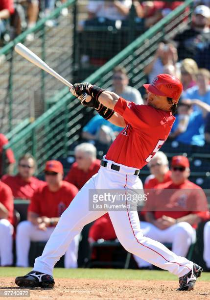 Hideki Matsui of the Los Angeles Angels of Anaheim bats during a Spring Training game against the Los Angeles Dodgers on March 15 2010 at Tempe...