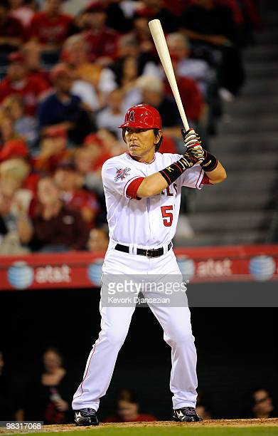 Hideki Matsui of the Los Angeles Angels of Anaheim during the baseball game against Minnesota Twins at Angel Stadium on April 7 2010 in Anaheim...