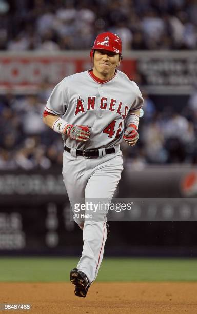 Hideki Matsui of the Los Angeles Angels of Anaheim hits a home run against the New York Yankees during their game on April 15 2010 at Yankee Stadium...