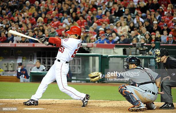 Hideki Matsui of the Los Angeles Angels of Anaheim hits a homerun in the fifth inning against the Detroit Tigers at Angel Stadium of Anaheim on April...