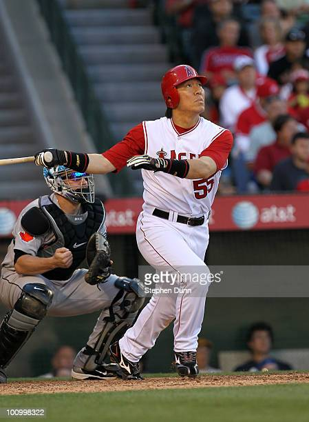 Hideki Matsui of the Los Angeles Angels of Anaheim hits a two run home run in the sixth inning against the Toronto Blue Jays on May 26 2010 at Angel...