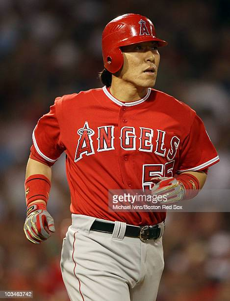 Hideki Matsui of the Los Angeles Angels of Anaheim is walked with the bases loaded by Manny Delcarmen of the Boston Red Sox on August 19 2010 at...