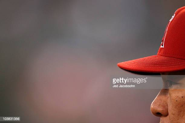Hideki Matsui of the Los Angeles Angels of Anaheim looks on against the Oakland Athletics during a Major League Baseball game at the Oakland-Alameda...
