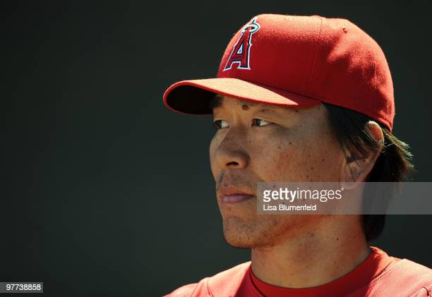 Hideki Matsui of the Los Angeles Angels of Anaheim looks on during a Spring Training game against the Los Angeles Dodgers on March 15 2010 at Tempe...