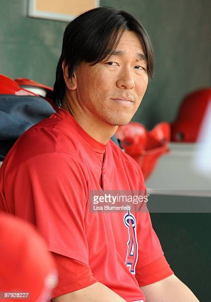 Hideki Matsui of the Los Angeles Angels of Anaheim looks on during the game against the Seattle Mariners on March 21 2010 at Tempe Diablo Stadium in...