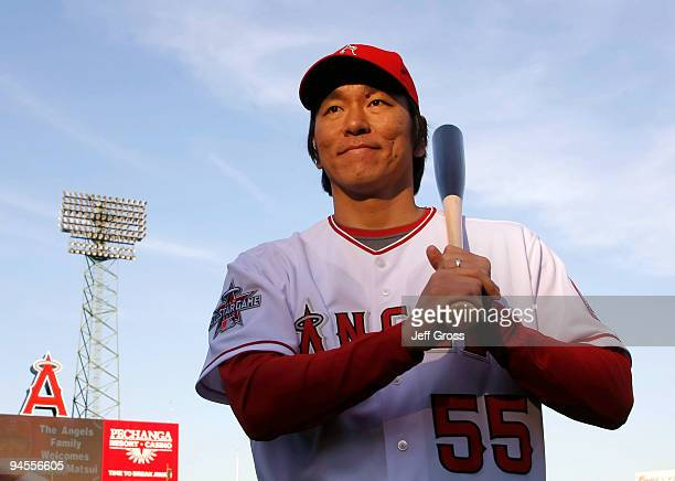 Hideki Matsui of the Los Angeles Angels of Anaheim poses for a portrait during a press conference at Angel Stadium of Anaheim on December 16, 2009 in...