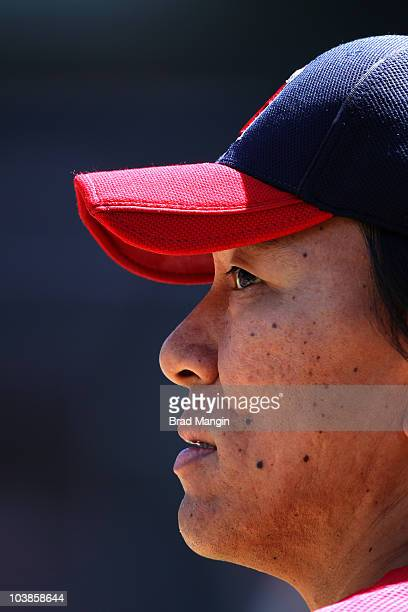 Hideki Matsui of the Los Angeles Angels of Anaheim takes batting practice before the game against the Oakland Athletics at the OaklandAlameda County...