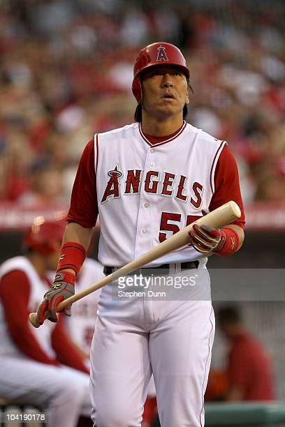 Hideki Matsui of the Los Angeles Angels of Anaheim waits on deck to bat against the Cleveland Indians on September 6 2010 at Angel Stadium in Anaheim...