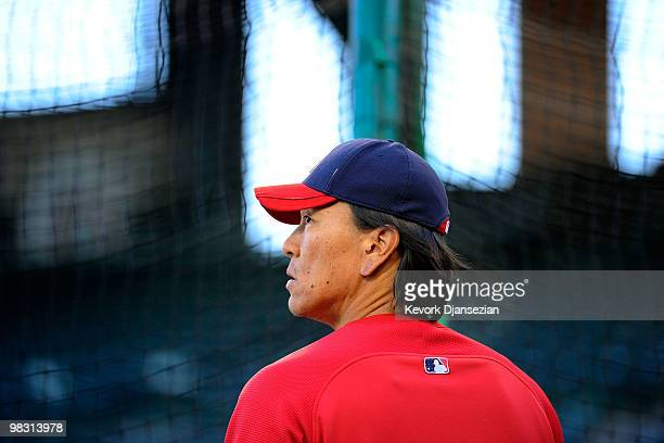 Hideki Matsui of the Los Angeles Angels of Anaheim warms up during batting practice prior to their game against the Minnesota Twins at Angel Stadium...