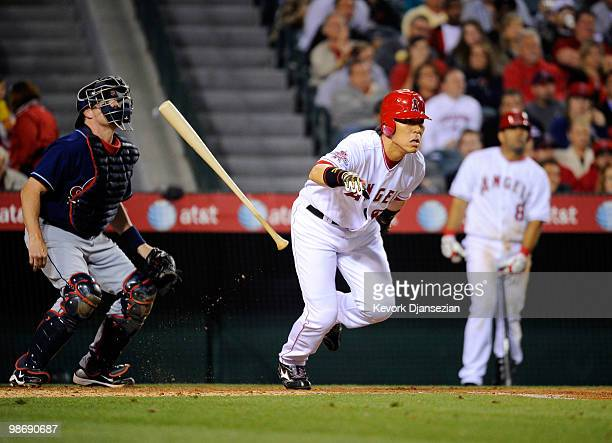 Hideki Matsui of the Los Angeles of Anaheim hits his 1000th MLB career hit against the Cleveland Indians during the fifth inning of the baseball game...
