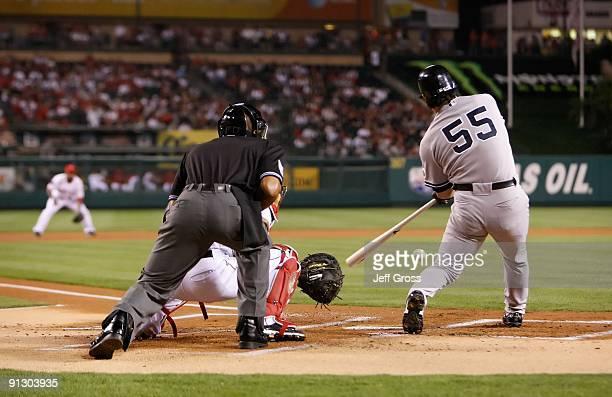 Hideki Matsui of the New York Yankees bats against the Los Angeles Angels of Anaheim at Angel Stadium on September 22 2009 in Anaheim California