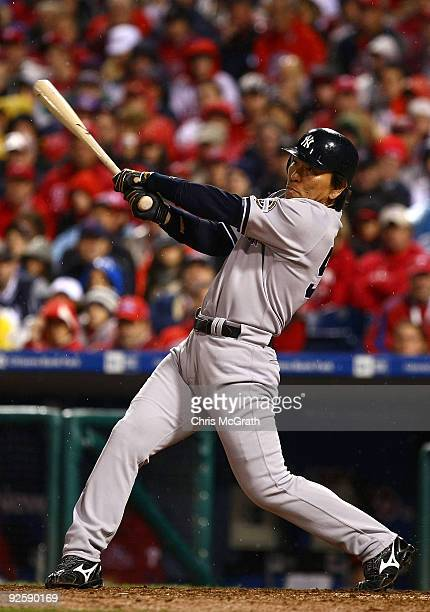 Hideki Matsui of the New York Yankees connects for a homerun in the eighth inning against the Philadelphia Phillies in Game Three of the 2009 MLB...