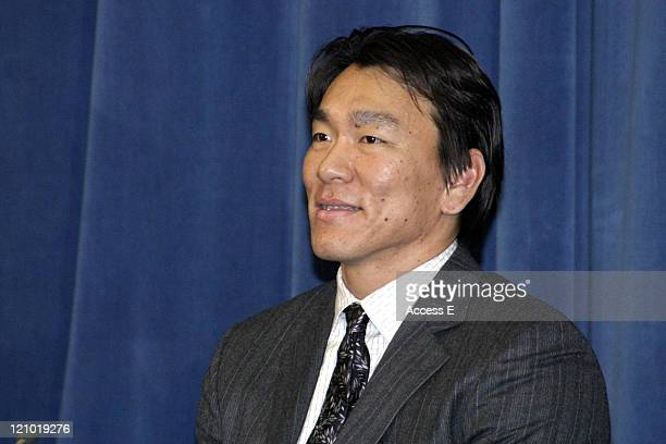 Hideki Matsui of the New York Yankees during Japanese Major League Baseball Players Promote Tourism Before Departing for Spring Training in the U.S....