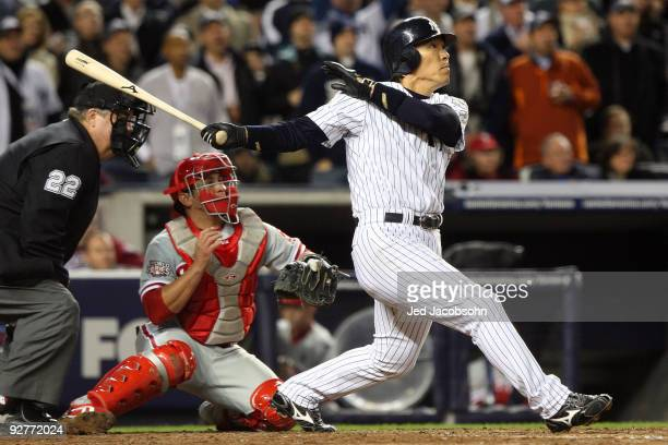Hideki Matsui of the New York Yankees hits a 2run double in the bottom of the fifth inning against the Philadelphia Phillies in Game Six of the 2009...