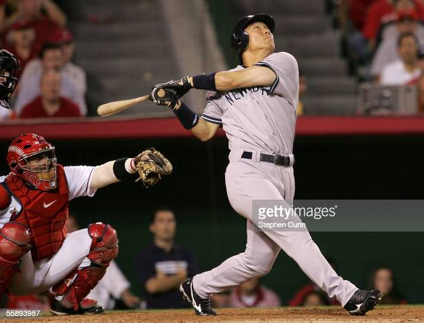 Hideki Matsui of the New York Yankees hits a pop fly in the fifth inning of the game against of the Los Angeles Angels of Anaheim during Game Five of...