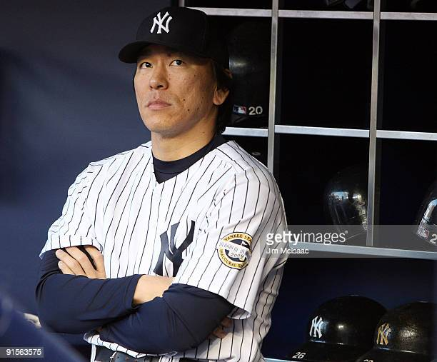 Hideki Matsui of the New York Yankees looks on against the Minnesota Twins in Game One of the ALDS during the 2009 MLB Playoffs at Yankee Stadium on...