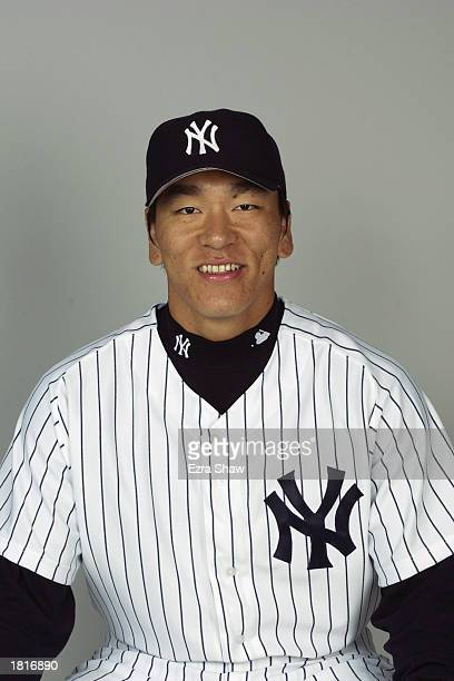 Hideki Matsui of the New York Yankees poses for a portrait during the Yankees' spring training Media Day on February 21 2003 at Legends Field in...