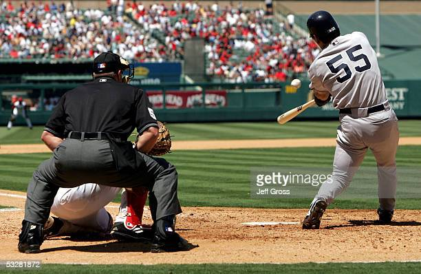 Hideki Matsui of the New York Yankees swings at a pitch in the game against the Los Angeles Angels of Anaheim at Angel Stadium on July 24 2005 in...