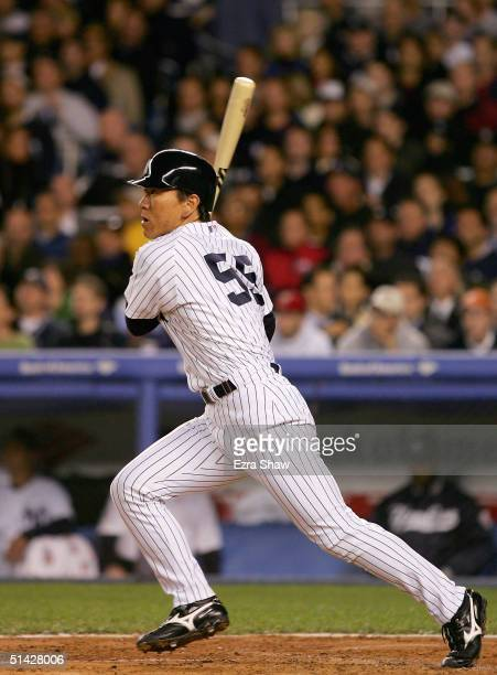 Hideki Matsui of the New York Yankees watches his line drive single go into centerfield in the 2nd inning of Game 1 of the American League Division...
