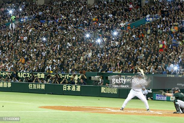 Hideki Matsui of the New York YankeesThe New York Yankees defeat the Tampa Bay Devil Rays 121 at the Tokyo Dome in Tokyo Japan